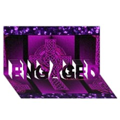 Purple Celtic Cross ENGAGED 3D Greeting Card (8x4)