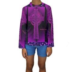 Purple Celtic Cross Kid s Long Sleeve Swimwear