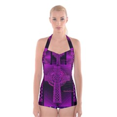 Purple Celtic Cross Boyleg Halter Swimsuit