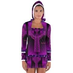 Purple Celtic Cross Women s Long Sleeve Hooded T-shirt