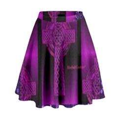 Purple Celtic Cross High Waist Skirt