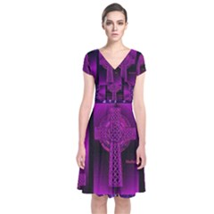 Purple Celtic Cross Short Sleeve Front Wrap Dress