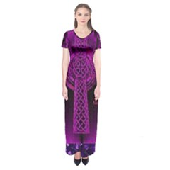 Purple Celtic Cross Short Sleeve Maxi Dress
