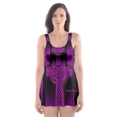 Purple Celtic Cross Skater Dress Swimsuit