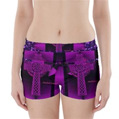 Purple Celtic Cross Boyleg Bikini Wrap Bottoms