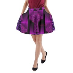 Purple Celtic Cross A Line Pocket Skirt