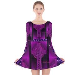 Purple Celtic Cross Long Sleeve Velvet Skater Dress