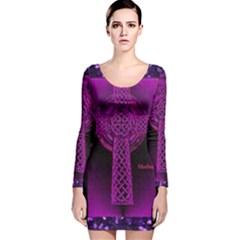 Purple Celtic Cross Long Sleeve Velvet Bodycon Dress
