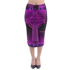 Purple Celtic Cross Midi Pencil Skirt