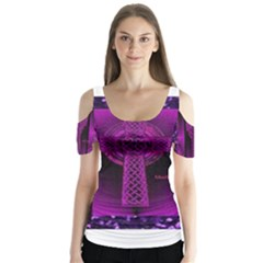 Purple Celtic Cross Butterfly Sleeve Cutout Tee