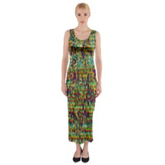 Multicolored Digital Grunge Print Fitted Maxi Dress