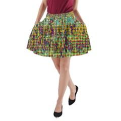 Multicolored Digital Grunge Print A-Line Pocket Skirt