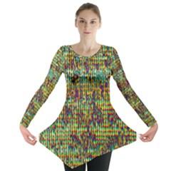 Multicolored Digital Grunge Print Long Sleeve Tunic