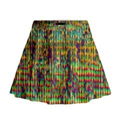 Multicolored Digital Grunge Print Mini Flare Skirt