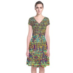 Multicolored Digital Grunge Print Short Sleeve Front Wrap Dress