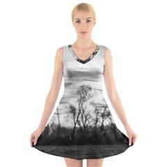 B&W Treescape V-Neck Sleeveless Skater Dress