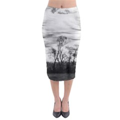 B&W Treescape Midi Pencil Skirt