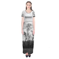 B&W Treescape Short Sleeve Maxi Dress
