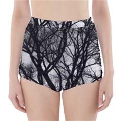 Winter Treescape High-Waisted Bikini Bottoms