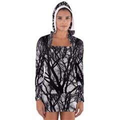 Winter Treescape Women s Long Sleeve Hooded T-shirt