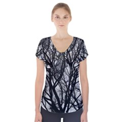 Winter Treescape Short Sleeve Front Detail Top