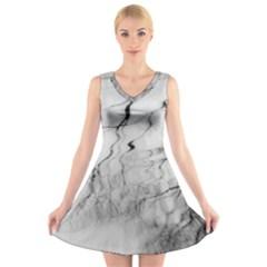 Tree Reflection V Neck Sleeveless Skater Dress