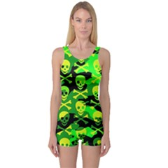 Skull Camouflage One Piece Boyleg Swimsuit