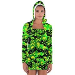 Skull Camouflage Women s Long Sleeve Hooded T-shirt