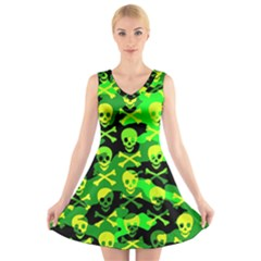 Skull Camouflage V Neck Sleeveless Skater Dress
