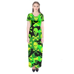 Skull Camouflage Short Sleeve Maxi Dress