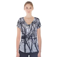 Tree Lines Short Sleeve Front Detail Top