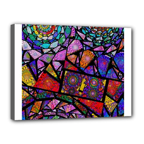 Fractal Stained Glass Canvas 16  x 12