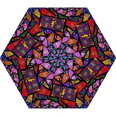 Fractal Stained Glass Mini Folding Umbrellas