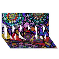 Fractal Stained Glass MOM 3D Greeting Card (8x4)