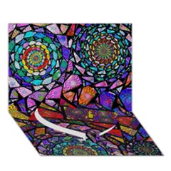 Fractal Stained Glass Heart Bottom 3D Greeting Card (7x5)