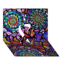 Fractal Stained Glass Ribbon 3D Greeting Card (7x5)