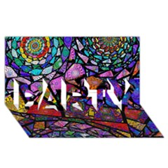 Fractal Stained Glass PARTY 3D Greeting Card (8x4)