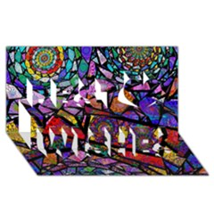 Fractal Stained Glass Best Wish 3D Greeting Card (8x4)