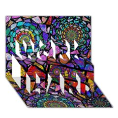 Fractal Stained Glass WORK HARD 3D Greeting Card (7x5)