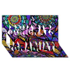 Fractal Stained Glass Congrats Graduate 3D Greeting Card (8x4)