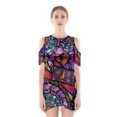 Fractal Stained Glass Cutout Shoulder Dress