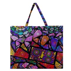 Fractal Stained Glass Zipper Large Tote Bag