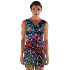 Fractal Stained Glass Wrap Front Bodycon Dress