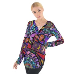 Fractal Stained Glass Women s Tie Up Tee