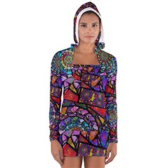 Fractal Stained Glass Women s Long Sleeve Hooded T Shirt