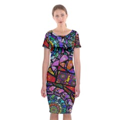 Fractal Stained Glass Classic Short Sleeve Midi Dress