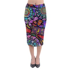 Fractal Stained Glass Midi Pencil Skirt