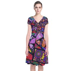 Fractal Stained Glass Short Sleeve Front Wrap Dress
