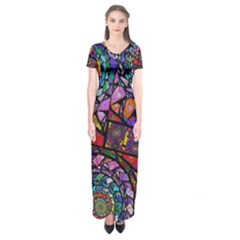 Fractal Stained Glass Short Sleeve Maxi Dress