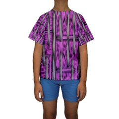 Purple Lace Landscape Abstract Shimmering Lovely In The Dark Kid s Short Sleeve Swimwear